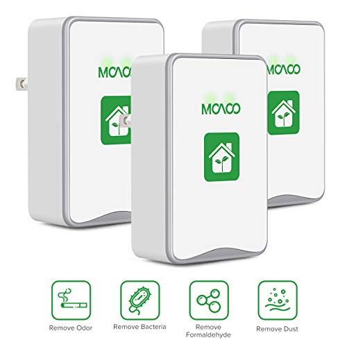 MOAOO Plug-in Air Purifier, 3 Pack Air Purifier for Home, Air Purifier No Filter Portable Household Eliminator Air Ionizers for Remove Smoke, Dust, Odor