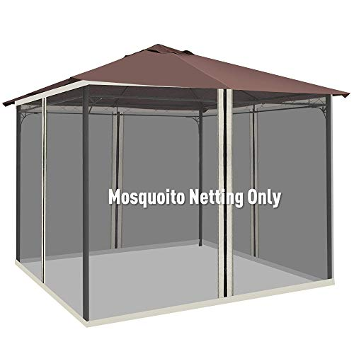 Outsunny Replacement Mesh Mosquito Netting Screen Walls for 10' x 13' Patio Gazebo,4-Panel Sidewalls with Zippers (Wall Only, Canopy Not Included)
