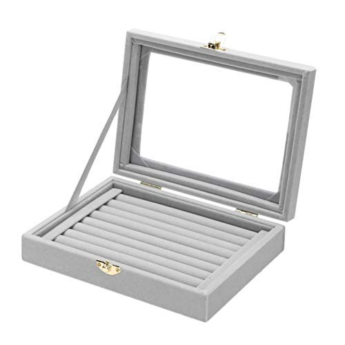 ZHOUBA - Caja de almacenamiento con tapa de cristal gris