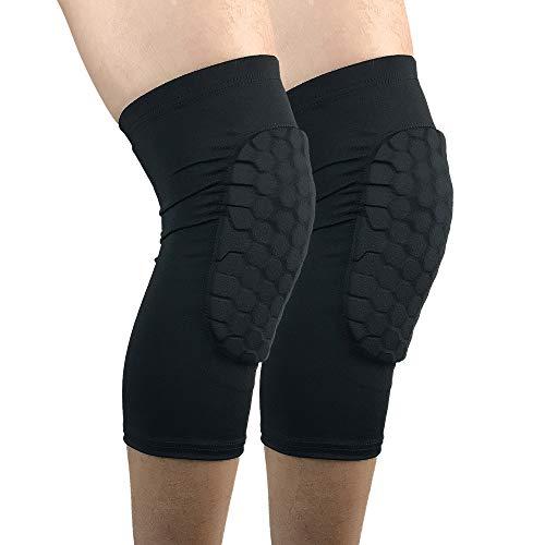 ESGTON Knee Pads EVA Padded Crashproof Leg Sleeve Compression Knee Braces (1 Pair) Youth & Adult - Basketball Volleyball Football-Black