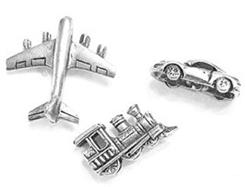 Planes, Trains and Automobiles Push Pins 15pc Set, Antique Silver