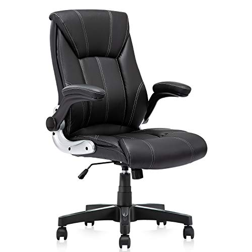 KERMS Ergonomic Executive Home Office Chair, High Back Swivel Computer Desk Chair with Flip up Arms and Height Adjustment (Black - Leather)