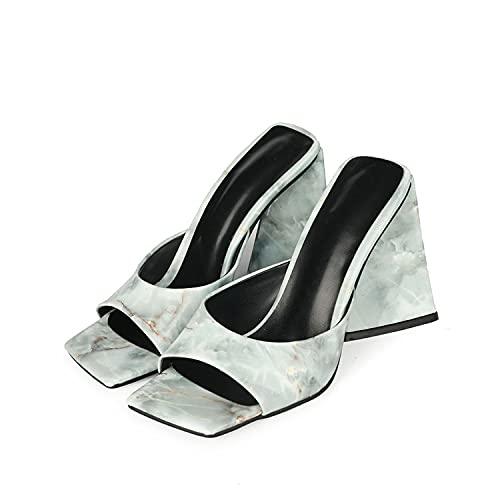 YIZHIYA Sandalias de Mujer,10cm Zapatillas de tacón Alto,Zapatillas de Punta Abierta con Punta Cuadrada marmoleada,Vestido de Noche de Fiesta de Bodas Tallas Grandes Bombas,Light Blue,35 EU