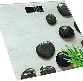 Suinga BASCULA BAÑO Digital con Capacidad hasta 180 Kg, Modelo Piedras. Mide el Peso en Kilos y Libras. con Auto Encendido y Apagado automático.
