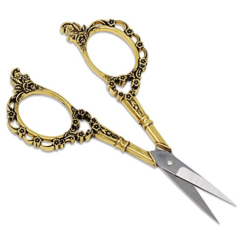PsmGoods® Vintage antike Edelstahl-Kreuz-Stich Antike Nähschere Schere Old Style Blick Bronze DIY (Scissor Plum Gold)