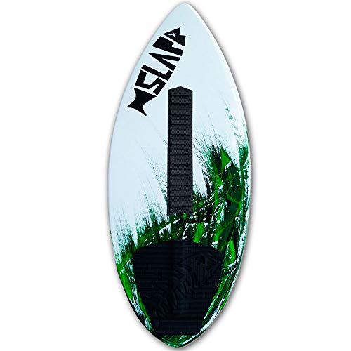 """Slapfish Skimboards USA Made Fiberglass & Carbon - Riders up to 225 lbs - 48"""" with Traction Deck Grip - Kids & Adults - 4 Colors (Green + Arch Bar)"""