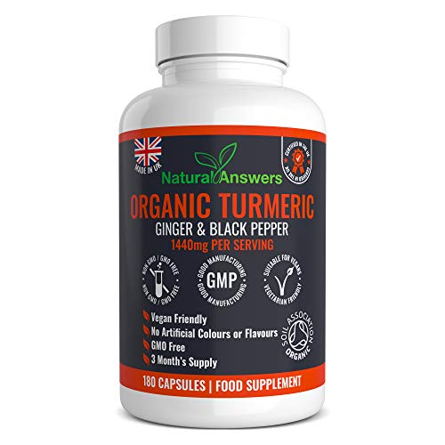 Organic Turmeric Curcumin 1440mg with Black Pepper & Ginger - 180 Vegan Turmeric Capsules High Strength (3 Month Supply) – Certified Organic by Soil Association - Made in The UK by Natural Answers
