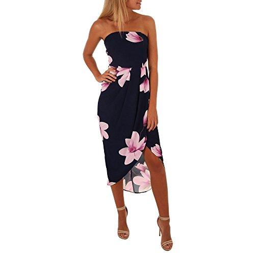 Damen Sommerkleid Maxikleid Weg von der Schulter Freizeitkleid Boho Kleid Dame Strandkleidung Hemdkleid Blusekleid Kleidung Rückenfrei Lang Skaterkleid Partykleider (XL, Marine)