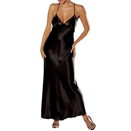 DOGZI Lencería Mujer Tallas Grandes V-Cuello Mujer Sexy Lencería Cordón Picardias Ropa Interior Durmiente Satín Cordón Vestido Largo (3XL, Negro)