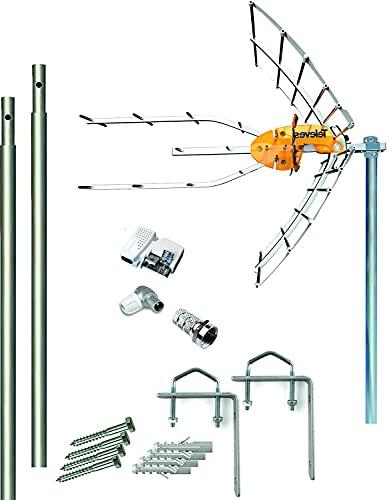 Kit Antena Televes 5G + Fuente 12V + 2 Mástiles 1.5m + Garras + Conexiones. Compatible Sat