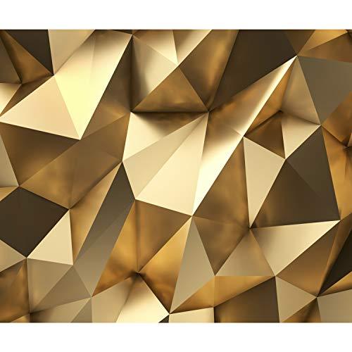 decomonkey Fototapete 3d Effekt 400x280 cm XXL Design Tapete Fototapeten Vlies Tapeten Vliestapete Wandtapete moderne Wand Schlafzimmer Wohnzimmer Abstrakt gold