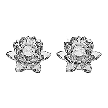 Amlong Crystal 3  Clear Lotus Candlesticks Holder, Set of 2