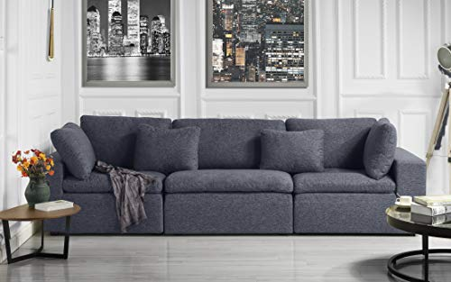 Large Classic Living Room Linen Fabric Sofa, 111.8