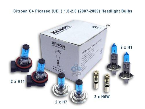 ampoules de phare de voiture d'effet de xénon H11 H1 H7 H6W, 8-pack