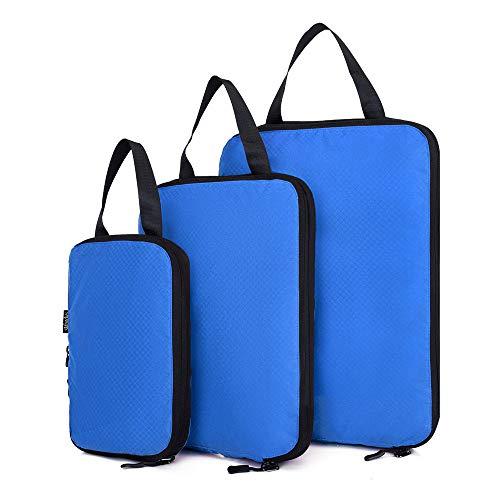 Packaging storage bag, travel packaging, compressed packaging cube, 3 expandable storage travel luggage organizer bags(blue)