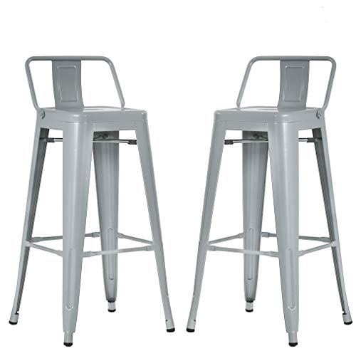 BestMassage Metal Bar stools 30 Inch Height Set of 2 Low Backrest Stackable Barstools Indoor Outdoor Dining Kitchen Tolix Style Bar Stools