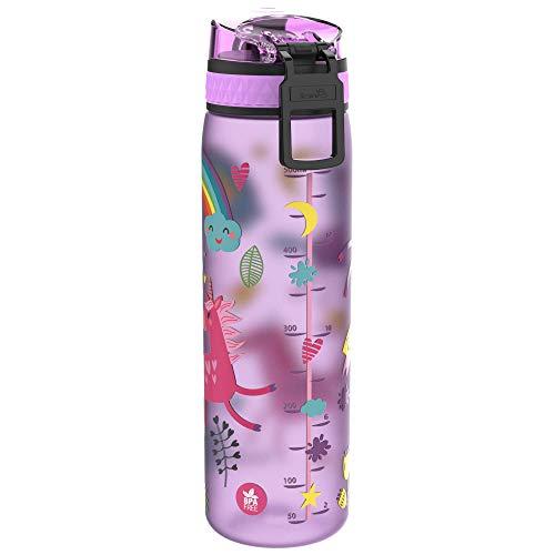 Ion8 Leak Proof Slim Water Bottle, BPA Free, 600ml, Unicorns