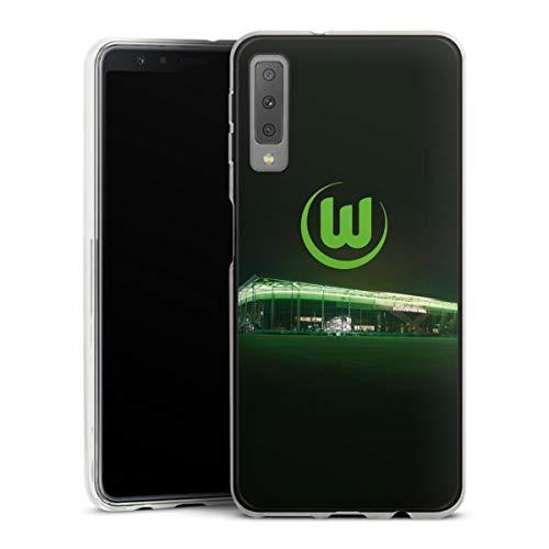 DeinDesign Slim Case extra dünn kompatibel mit Samsung Galaxy A7 Duos 2018 Silikon Handyhülle transparent Hülle Offizielles Lizenzprodukt VFL Wolfsburg Stadion