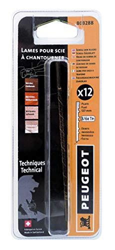Peugeot 803288 spel 12 messen decoupeerzaag zaagbok snelle snede 40 mm tanden verwisseld 127 x 1,35 x 0,46 mm 8 TPI
