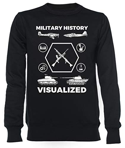 Military History Visualized - Planes, Tanks & Icons Unisex Mannen Dames Trui Zwart Unisex Men's Women's Jumper Black