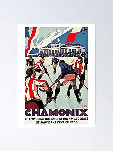 1930 Eishockey-Weltmeisterschaft Chamonix Frankreich - Vintage Poster Kein Frame Board für Büro-Dekor, Beste Geschenkfamilie und Ihre Freunde 11,7 * 16,5 Zoll