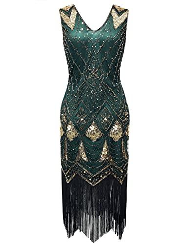 Coucoland Vestido de mujer de los años 20, escote en V, sin mangas, flecos, lentejuelas, vestido de los años 20, vestido de lentejuelas, gran Gatsby para cóctel o fiestas de disfraces