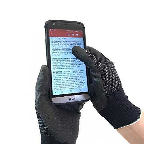 AG NiTex FT-200, 6 Pairs, All-finger Touchscreen Gloves, Nitrile Foam Coated Gloves (Medium)