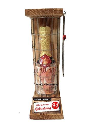 Alles Gute zum 94 Geburtstag - Eiserne Reserve – Geldgeschenk - Sektflasche zum selbst Befüllen mit Geld, Süßigkeiten… Geschenkverpackung Geschenkidee