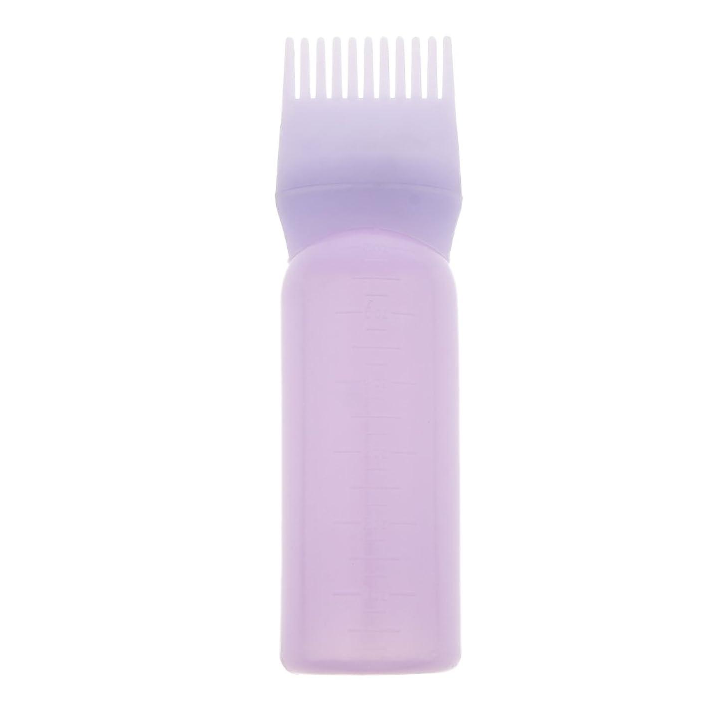 無秩序の面ではショルダールートコームヘアダイボトルアプリケーターサロンヘアカラーディスペンサーブラシ(120ml) - 紫