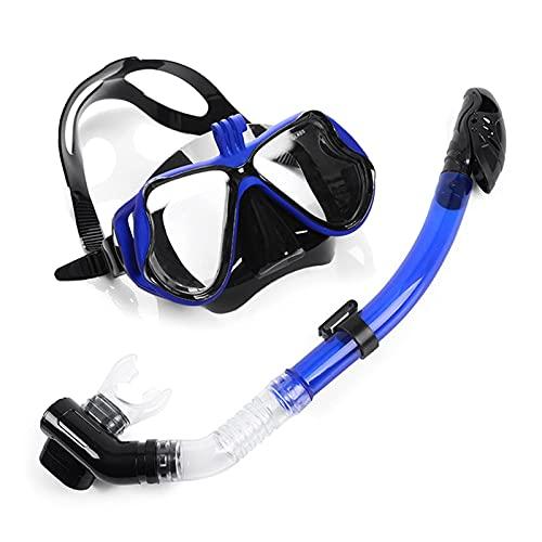 Máscara de esnórquel, Máscara de esnórquel Seca Máscara de natación Antivaho Plegable Vidrio Templado Esnórquel Buceo Equipo de Buceo con esnórquel (Color: Azul)