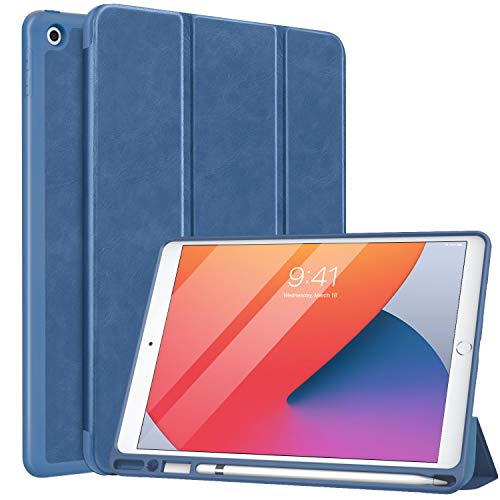 MoKo Custodia Compatibile con Nuovo iPad 10.2' 2020/2019 con Portapenna, Protettiva Ultra Sottile per iPad 8a Gen 2020 / iPad 7a Gen 2019, Supporta Funzione Auto Sveglia/Sonno - Azzurro