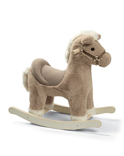 Mamas & Papas Rocking Horse, Plush Grey Rocking Horse Toy with Solid Wooden Base and Raised Seat, Nursery Staple - Grey Bugsy