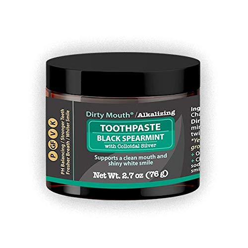 Dirty Mouth Natural Alkalizing Toothpaste for Sensitive Teeth and Gums   Remineralize, Strengthen, and Restore Enamel   2.7 Ounces (Black Spearmint)