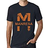 One in the City Hombre Camiseta Vintage T-Shirt Gráfico Letter M Countries and Cities MANRESA Marine