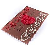 XXL Schokolade Herz ''I love you'' 520g Edel Vollmilch-Schokolade - Marzipan Rosenblätter - Deutsche Handarbeit ideal als Geschenk zum Geburtstag Hochzeitstag Jahrestag