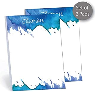 """Watercolor Set of 2 Personalized Memo Pads/Notepads, 2 pads - 50 sheets per pad. 5.5"""" x 8.5"""". Made in the USA."""