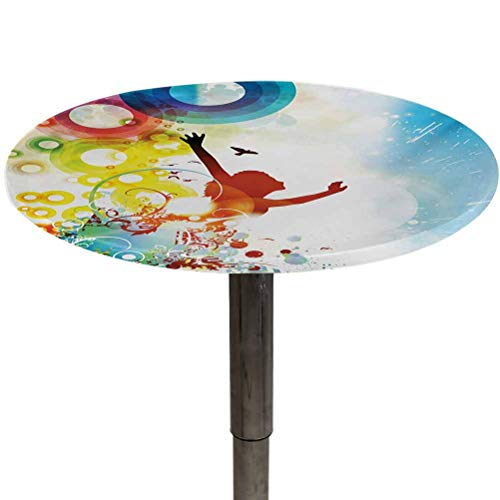 Round Table Cover Youth Outdoor Tablecloths Artistic and Abstract Composition with Happy Woman Silhouette Flying Birds Circles BBQ, Picnic, Kitchen Tablecloth Multicolor Diameter 64'