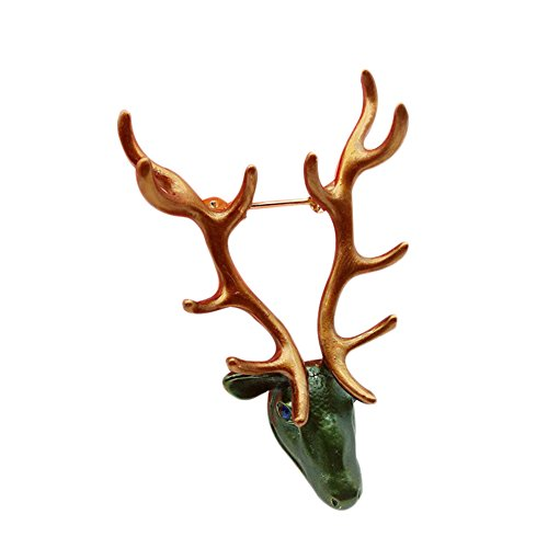 Nikgic 1pc Broche de Cabeza de Ciervo Hombres Accesorios Perla Cristal Diamantes árbol Broche Personalidad Mignonne Mode Hipster Buttonhole 5.7* 3.5cm