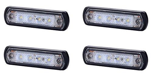 4 x 4 SMD LED Weiß Begrenzungsleuchte Umrissleuchte 12V 24V mit E-Prüfzeichen Positionsleuchte Auto LKW PKW KFZ Lampe Leuchte Licht Front Universal