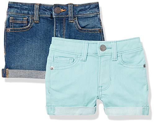 Amazon Essentials 2-Pack Girls Denim Jean Shorts, Aqua/Dark Wash, 11-12 Jahre, 2er-Pack