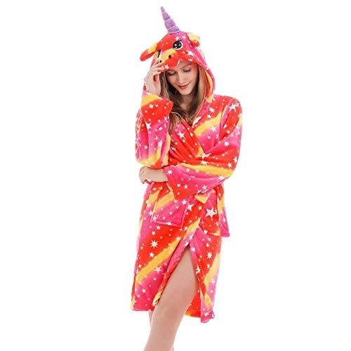XZYC Accappatoio Accappatoio da Donna Accappatoio Lungo Accappatoio Pigiama Abito da Adulto con Cappuccio Indumenti da Notte Costume da Bagno-Redar_L_161-170Cm
