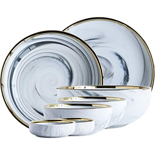 XZDXR Vajilla de Estilo nórdico de mármol Dorado combinación de vajilla de...