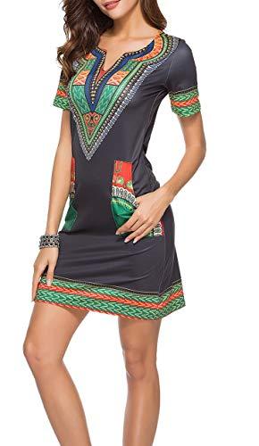 Vestiti Etnici Donna Estivi Bohemian Hippy Chic Abito Manica Corta Vestito Africano Indiano Mini...