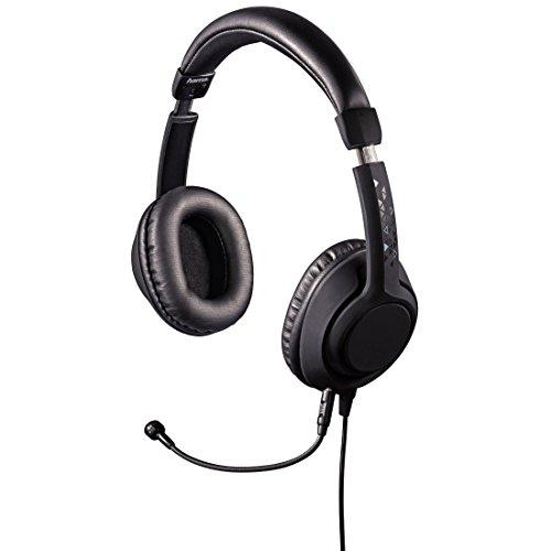 Hama PC Gaming Headset , 4-poliger Klinkenstecker und 3-poliger Adapter (ideal für PC, Notebook, Konsole, Tablet, Smartphone) abnehmbares Mikrofon, schwarz