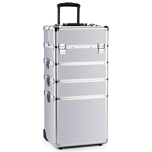 OUDMAY by Amazon - Makeup Rolling Train Case 4-in-1 Professional Artist Trolley Cosmetic Organizer with 2 Wheels Durable Aluminum Frame Folding Trays and Locks Silver