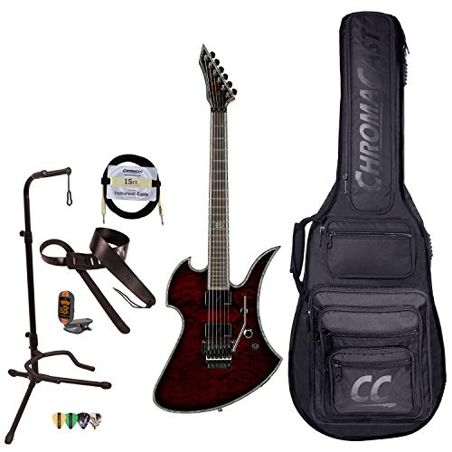 BC Rich Guitars Mockingbird Extreme Exotic Electric Guitar with Floyd Rose, Case, Strap, and Stand, Black Cherry Quilt