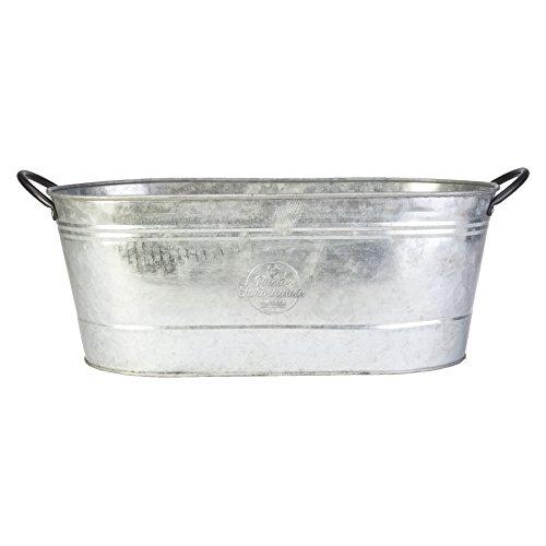 16″ Oval Washtub Planter, Aged Galvanized Finish
