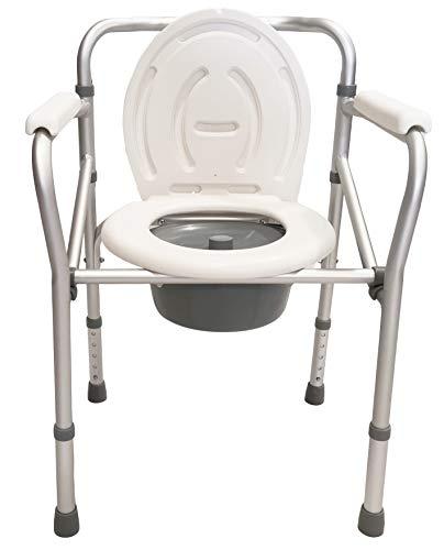 Sedia comoda pieghevole per WC o doccia, altezza regolabile 44-55cm