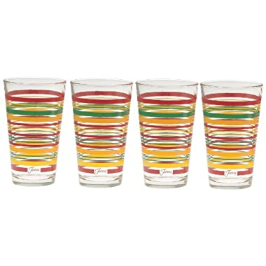 Fiesta Tangerine Stripe 16-Ounce Tapered Cooler Glass (Set of 4)