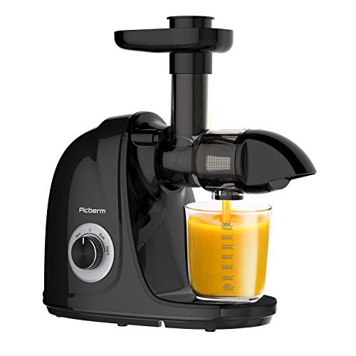 Juicer Machine, Picberm Slow Masticating Juicers for Nutrients Preservation Anti-Clogging Easy to Clean, Quiet Motor Cold Press Juicer Extractor with Brush Recipes for Fruits and Vegetables, Black